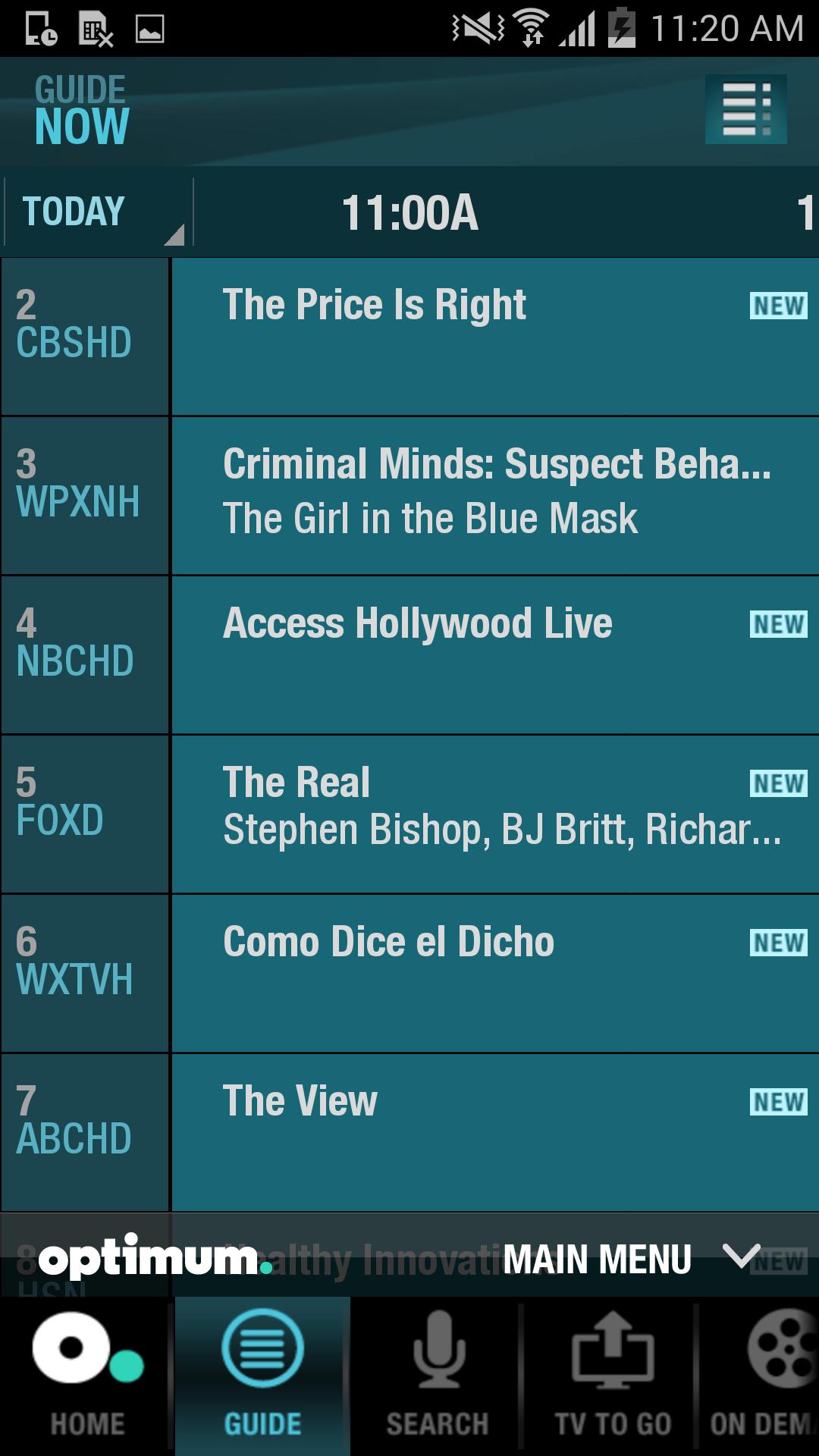 optimum cable tv schedule