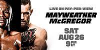 BOXEO:MAYWEATHER VS. MCGREGOR Sábado 26 de agosto a las9:00 p. m.